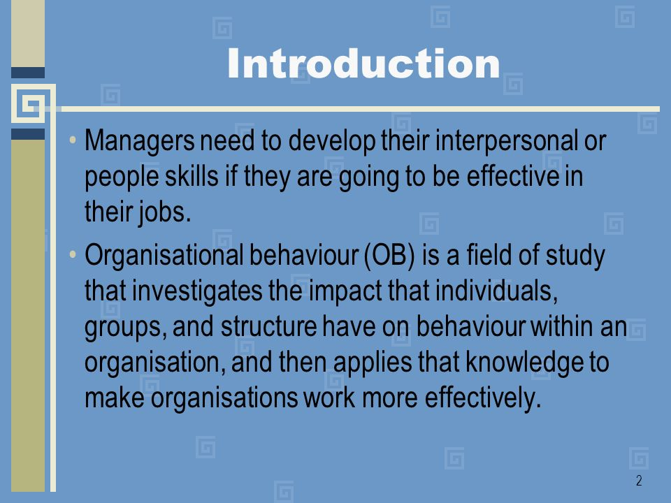 Introduction Managers need to develop their interpersonal or people skills if they are going to be effective in their jobs.