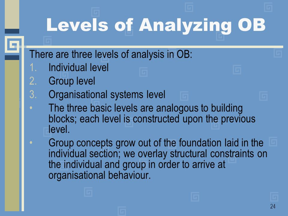 Levels of Analyzing OB There are three levels of analysis in OB: