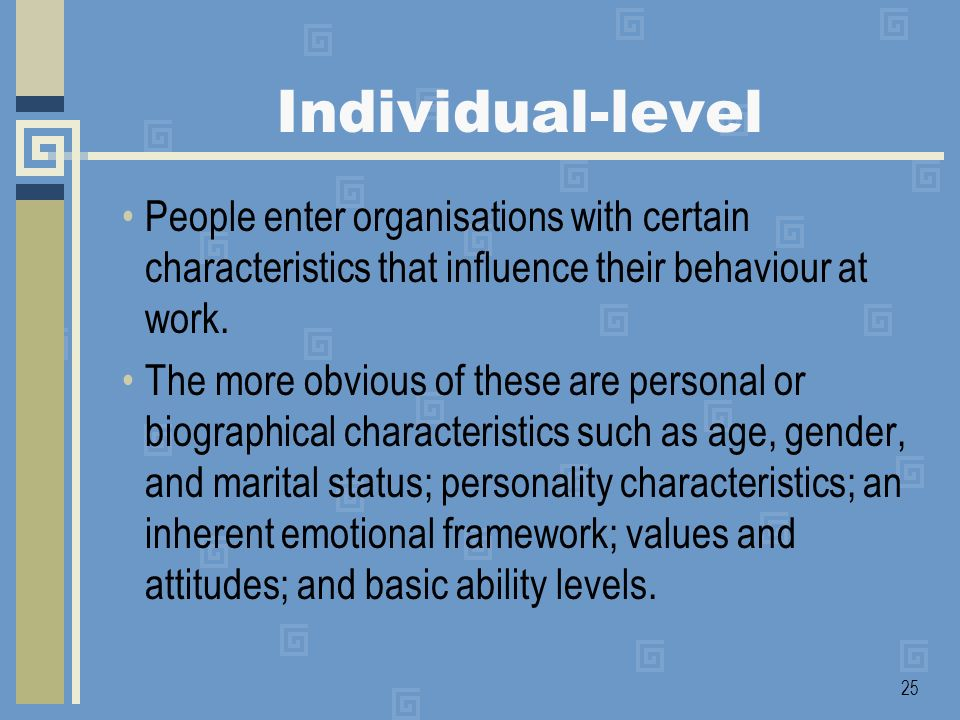 Individual-level People enter organisations with certain characteristics that influence their behaviour at work.