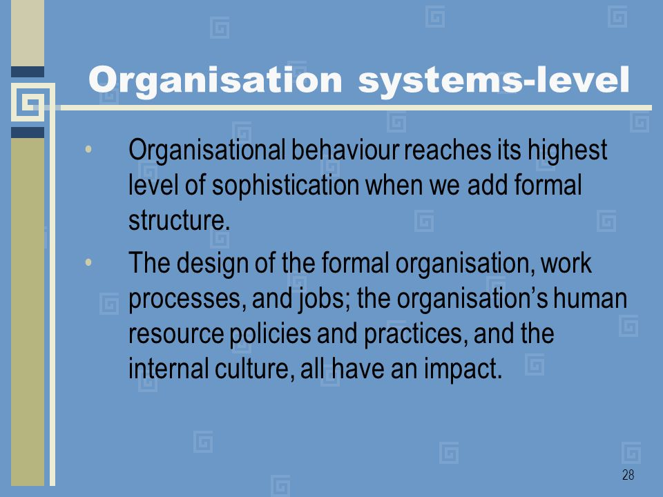 Organisation systems-level