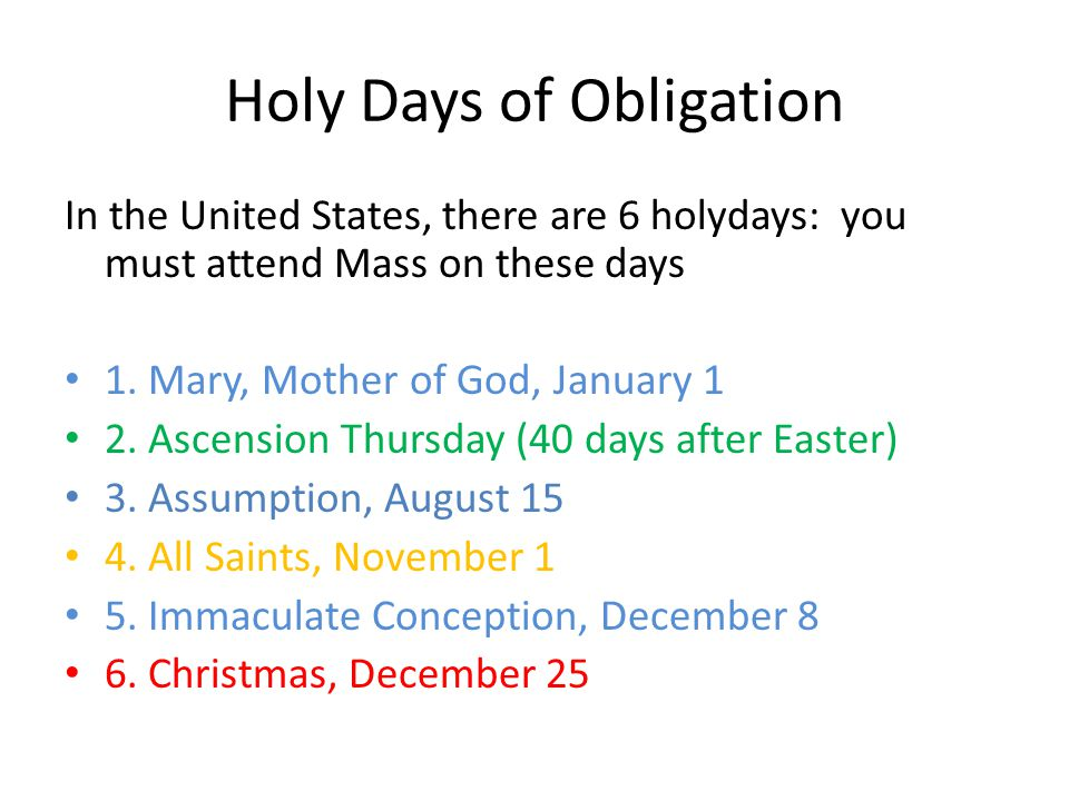 Catholic Holy Days Of Obligation In The United States
