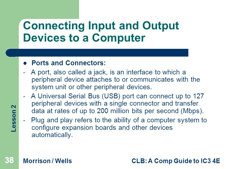 Connecting Input and Output Devices to a Computer