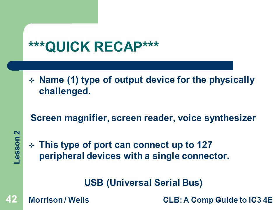***QUICK RECAP*** Name (1) type of output device for the physically challenged. Screen magnifier, screen reader, voice synthesizer.