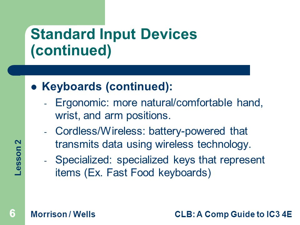 Standard Input Devices (continued)