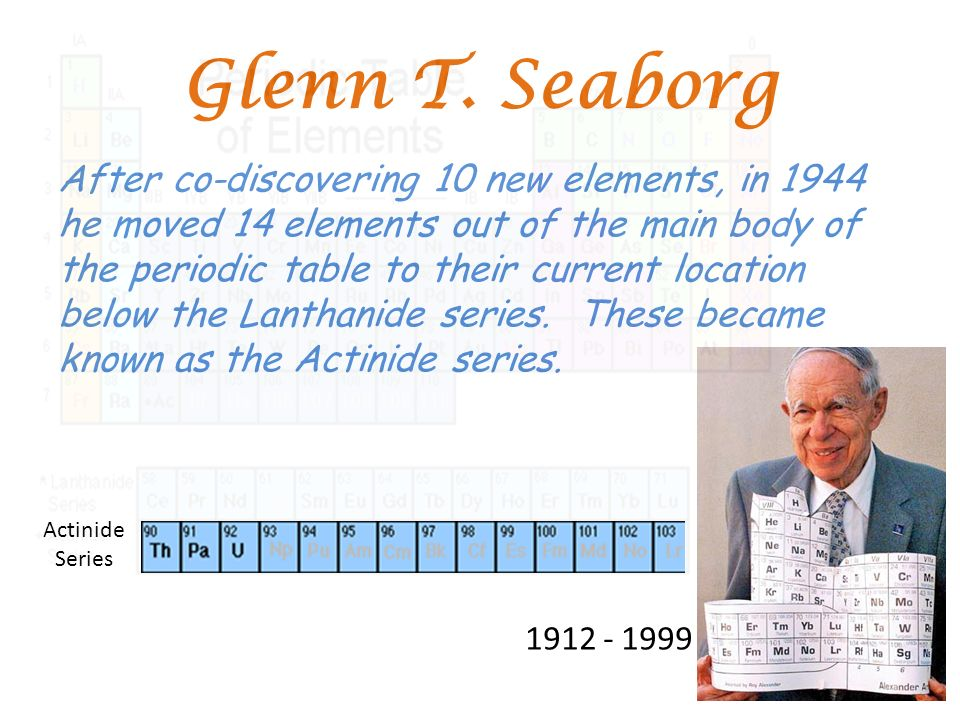 Periodic Table glenn seaborg contributions to the modern periodic table : HISTORY OF THE PERIODIC TABLE - ppt video online download
