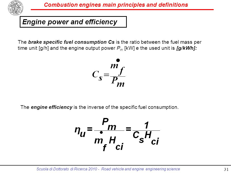 Engine power and efficiency