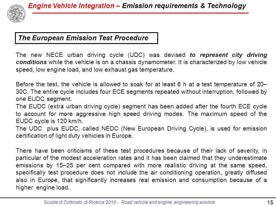The European Emission Test Procedure