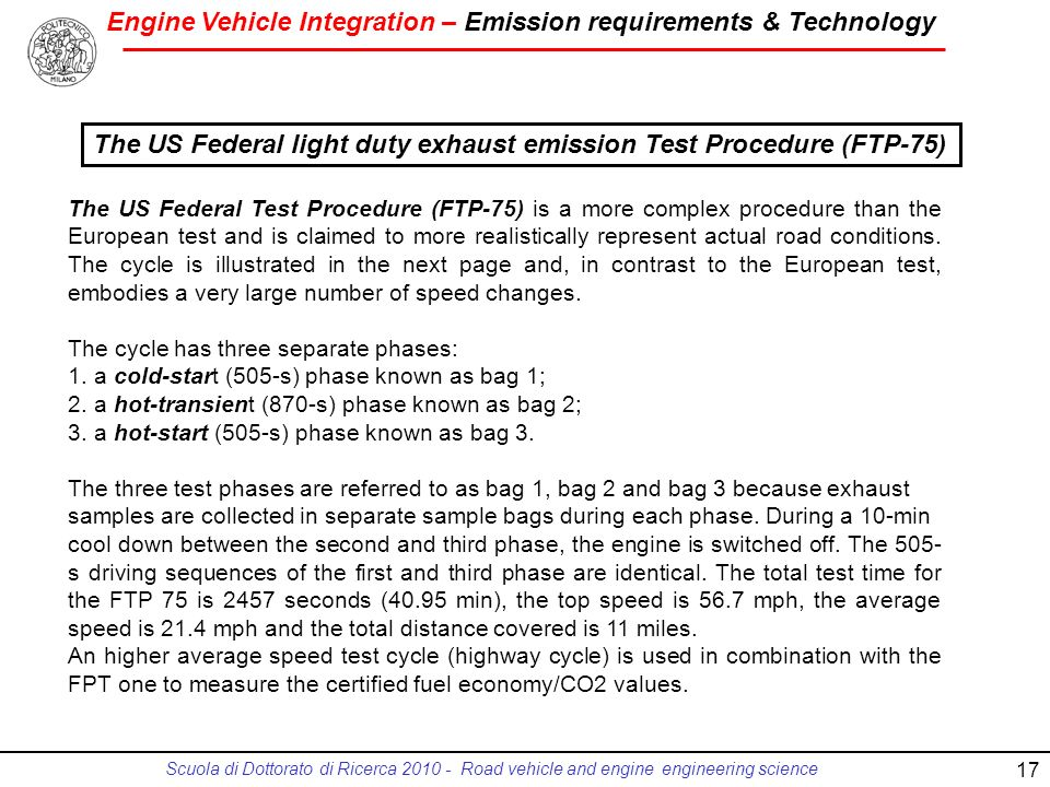 The US Federal light duty exhaust emission Test Procedure (FTP-75)
