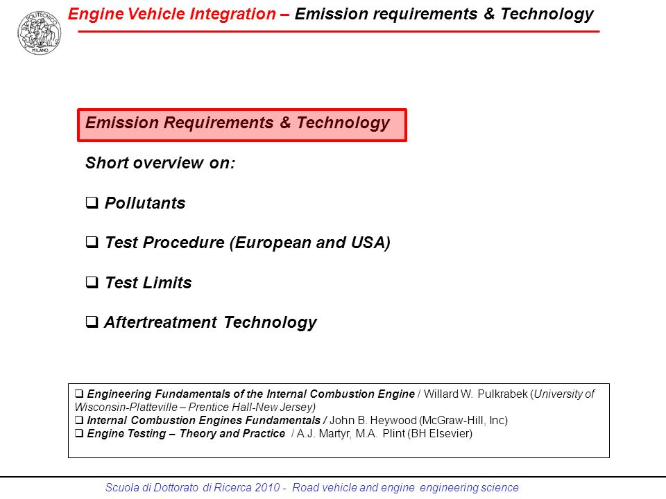 Emission Requirements & Technology Short overview on: Pollutants