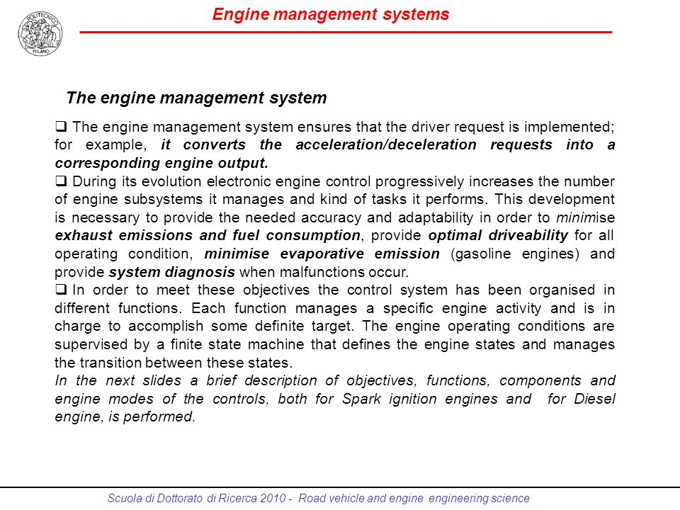 The engine management system