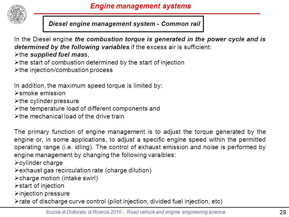 Diesel engine management system - Common rail