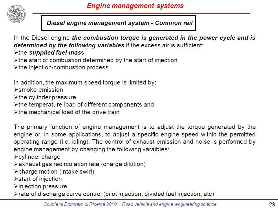 Diesel engine management system - Common rail