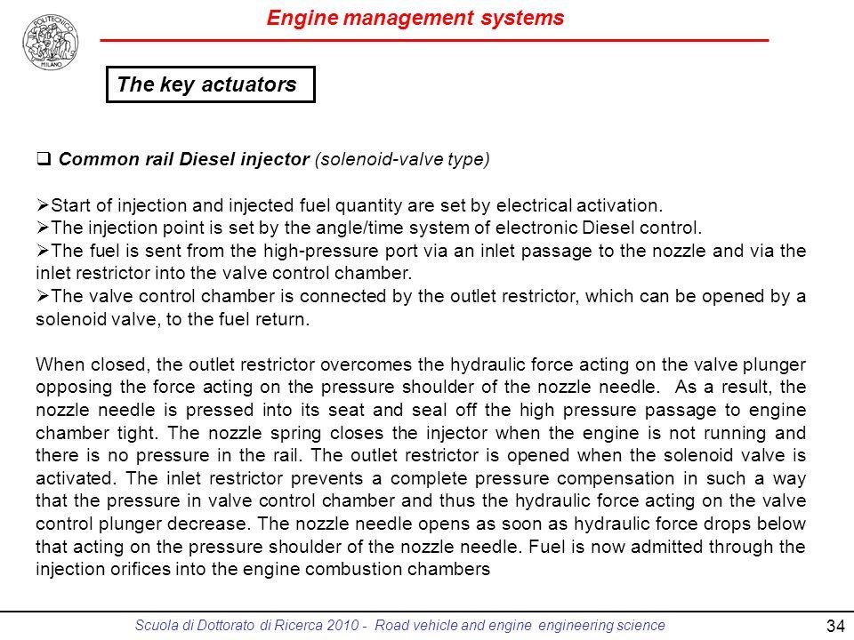 The key actuators Common rail Diesel injector (solenoid-valve type)