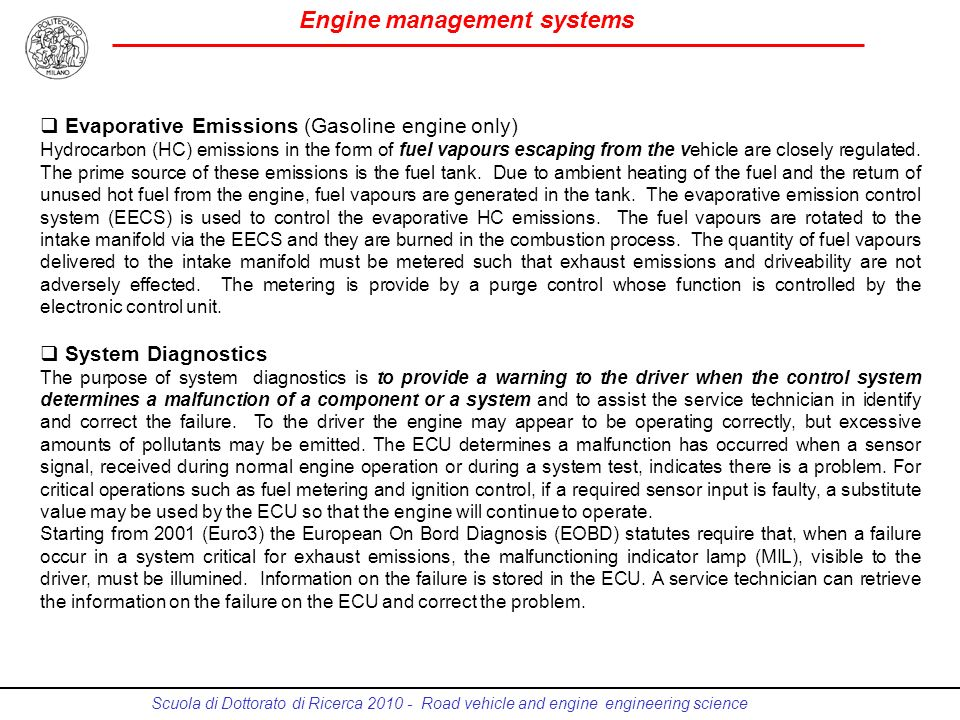 Evaporative Emissions (Gasoline engine only)