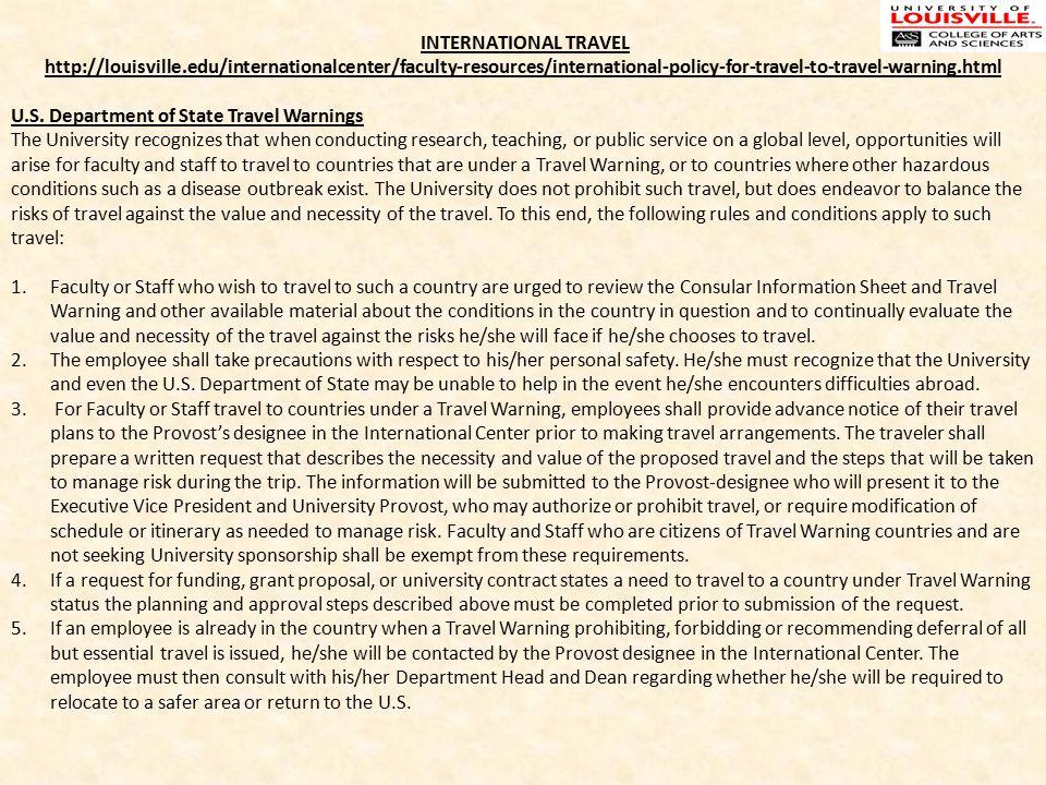 INTERNATIONAL TRAVEL Louisvilleedu Internationalcenter Faculty Resources