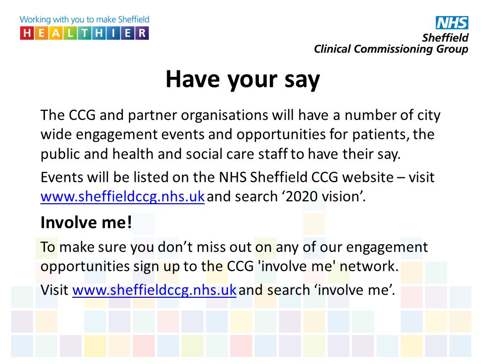 Have your say Involve me!