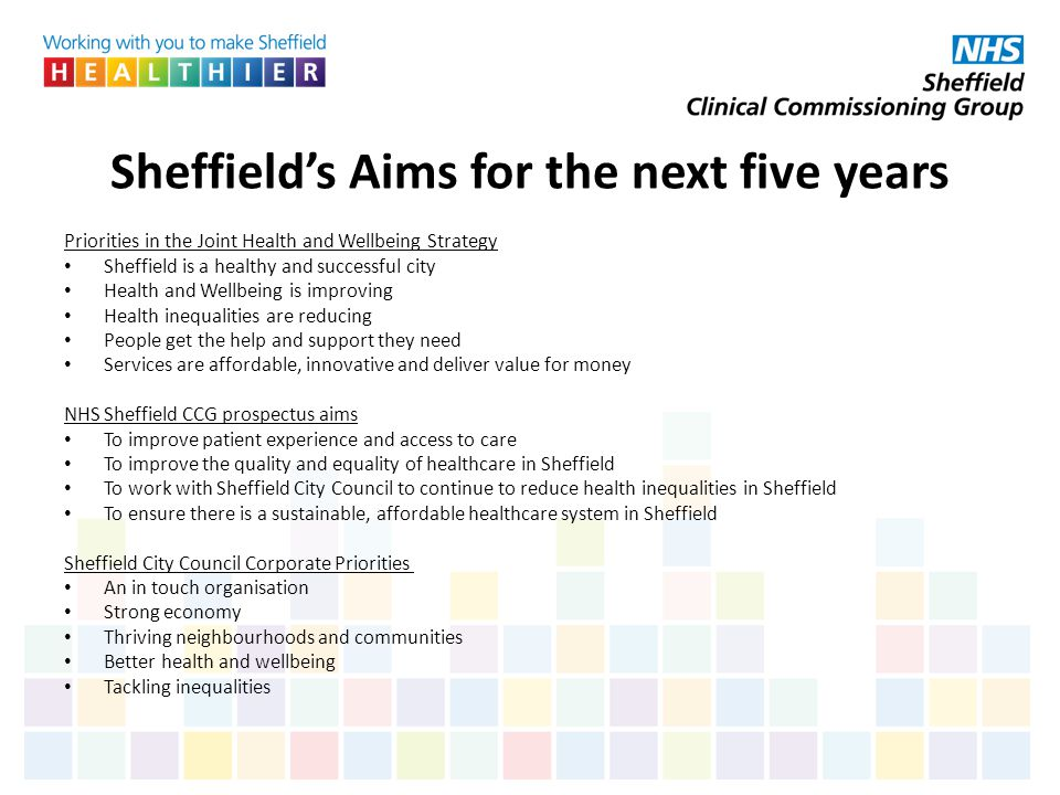 Sheffield's Aims for the next five years