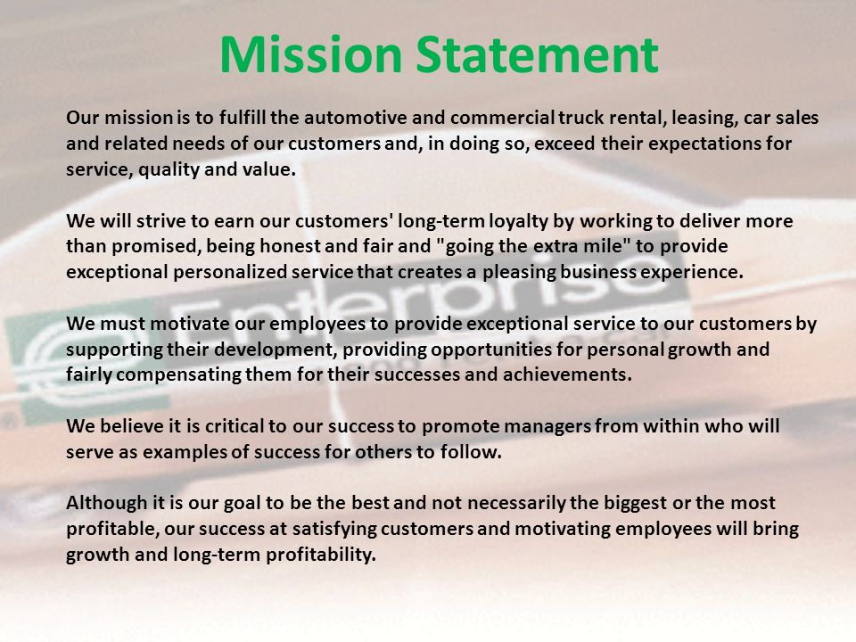 What Is Enterprise Rent A Car Mission Statement