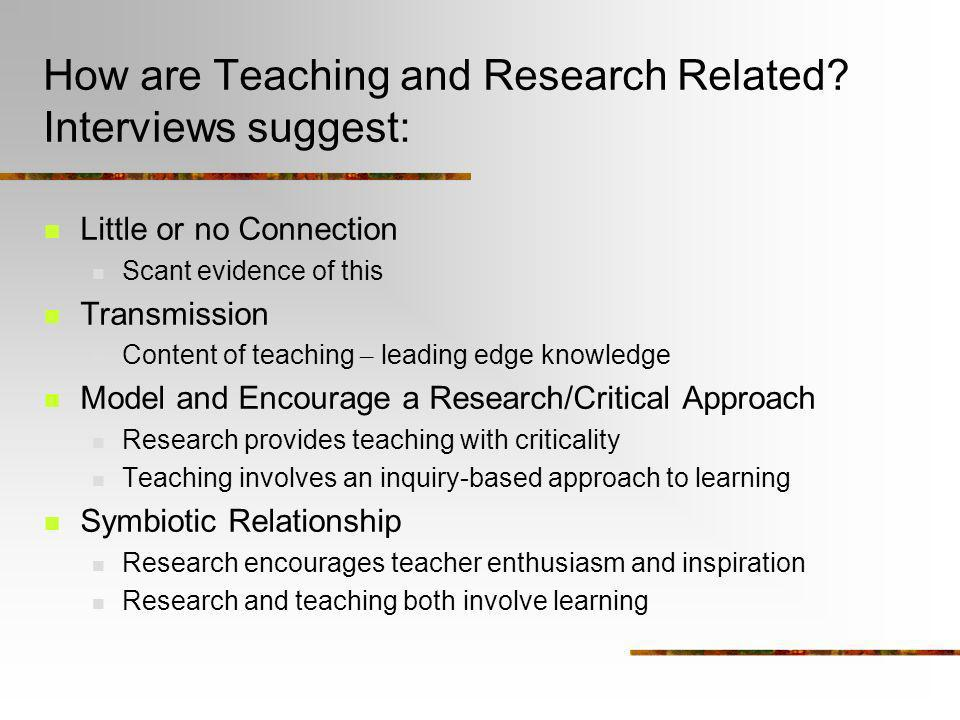 How are Teaching and Research Related Interviews suggest: