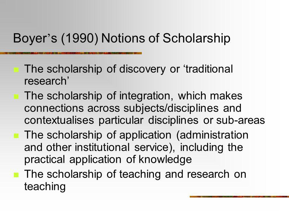 Boyer's (1990) Notions of Scholarship