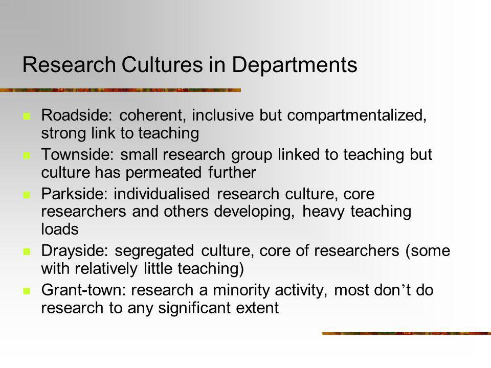 Research Cultures in Departments