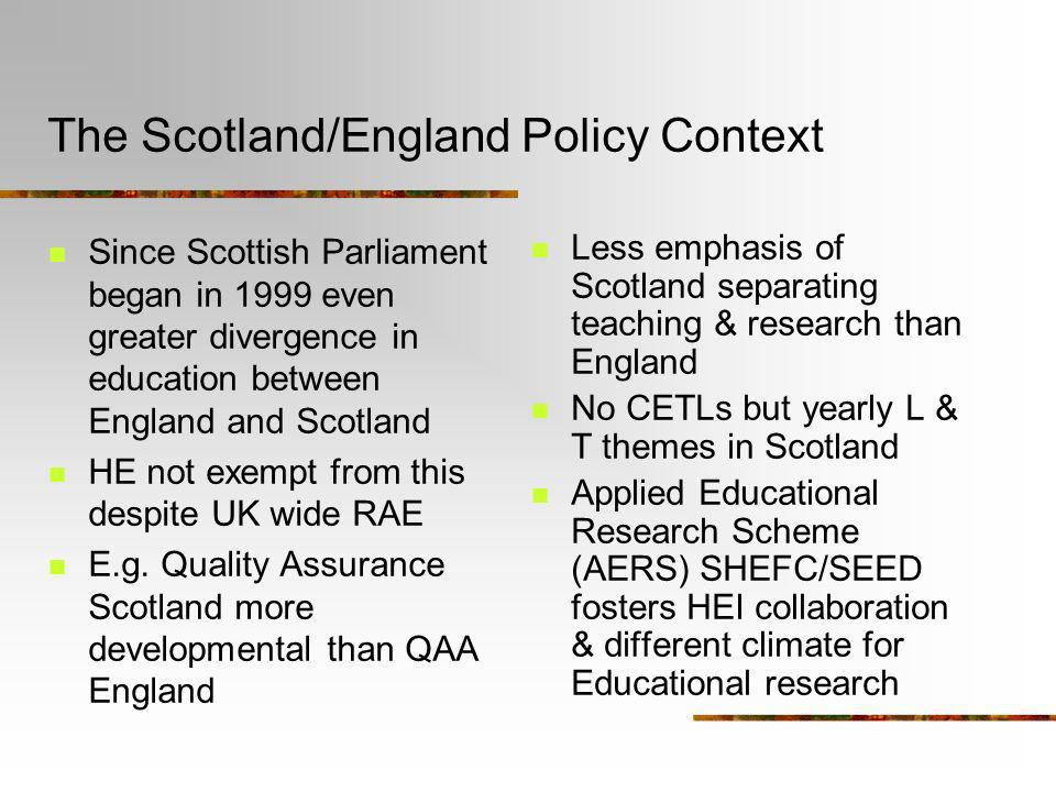 The Scotland/England Policy Context