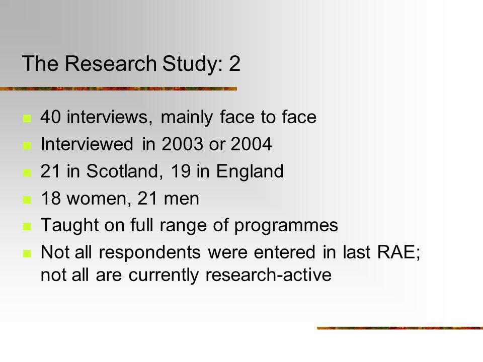 The Research Study: 2 40 interviews, mainly face to face