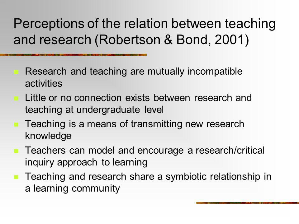 Perceptions of the relation between teaching and research (Robertson & Bond, 2001)