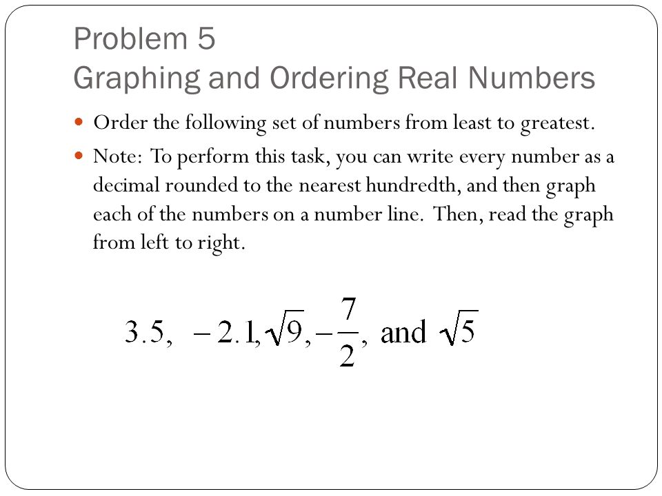 Problem 5 Graphing and Ordering Real Numbers