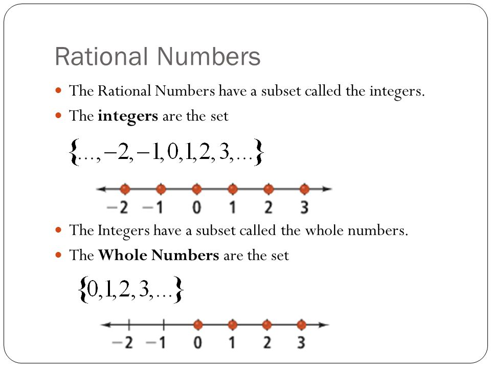 Rational Numbers The Rational Numbers have a subset called the integers. The integers are the set.