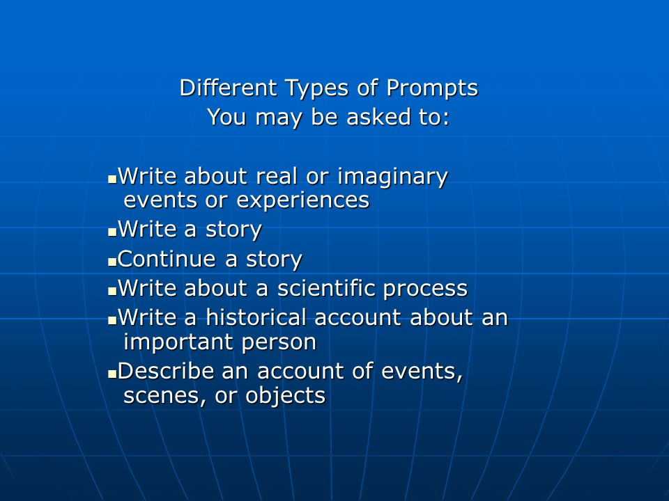 types of writing prompts Learn more about the four types of writing students will need to use as they progress through middle and high school and how they are used.