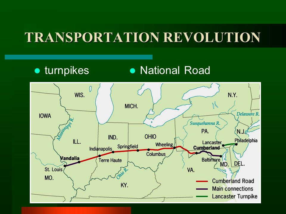 transportation revolution 1820 1860 The growth of america between 1790 and 1820, the population of the united states more than doubled to nearly 10 million people remarkably, this growth was almost entirely the result of reproduction, as the immigration rate during that period had slowed to a trickle.