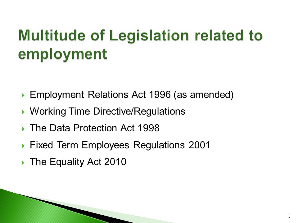 legislation relating to employment Find information about employment discrimination, payday law, child labor, minimum wage requirements, required workplace posters and.