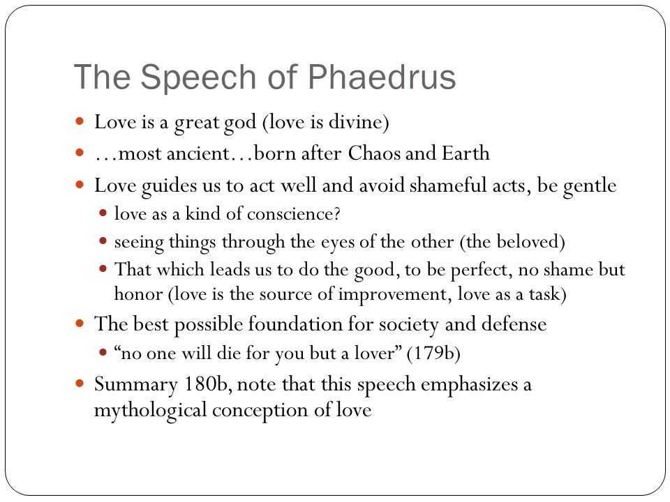 an analysis of rhetoric in phaedrus by plato Notes to plato on rhetoric and poetry 1 for an analysis of the rhetoric and the meaning of the rhetoric of the i am using the nehamas and woodruff 1997b translation of the phaedrus 29 by contrast: plato concludes the sophist with a series of distinctions intended to isolate and.