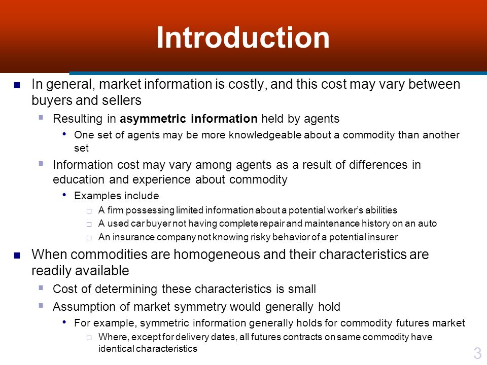 Information asymmetry example