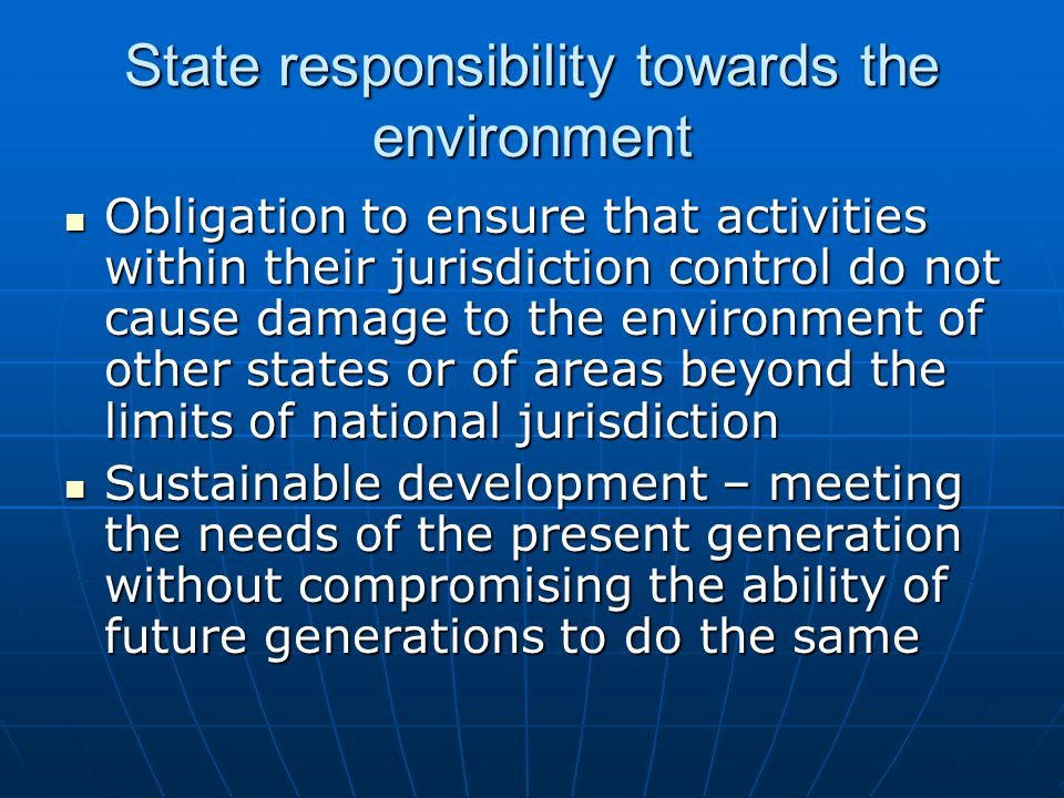 individual responsibility towards environment Environmental ethics and social responsibility our insights and actions towards the environment if we don't take more responsibility as individuals and.