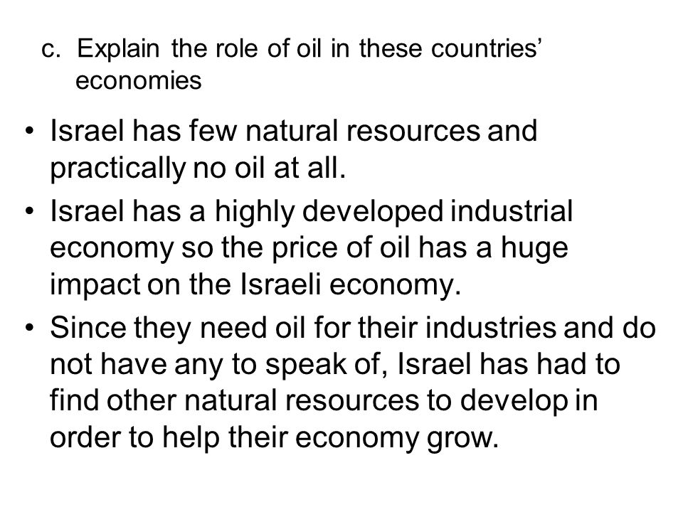the dependence of israels economy on natural resources Israel continues its theft of palestinian natural resources  a world bank report  has warned that the crisis-plagued palestinian economy is being  instead, the  palestinians have continued to be dependent on israel for meeting their energy.
