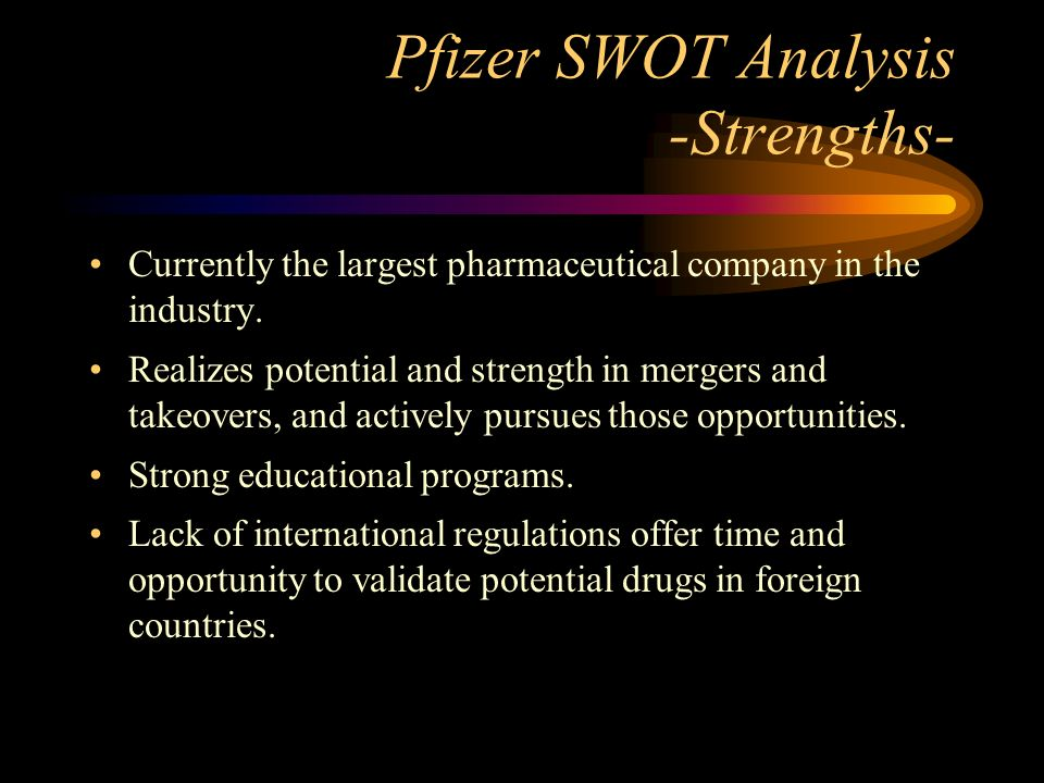 pfizer case study swot analysis Custom strategy in the 21st century pharmaceutical industry: merck & co and pfizer inc case study analysis in the case study do the swot analysis of the.