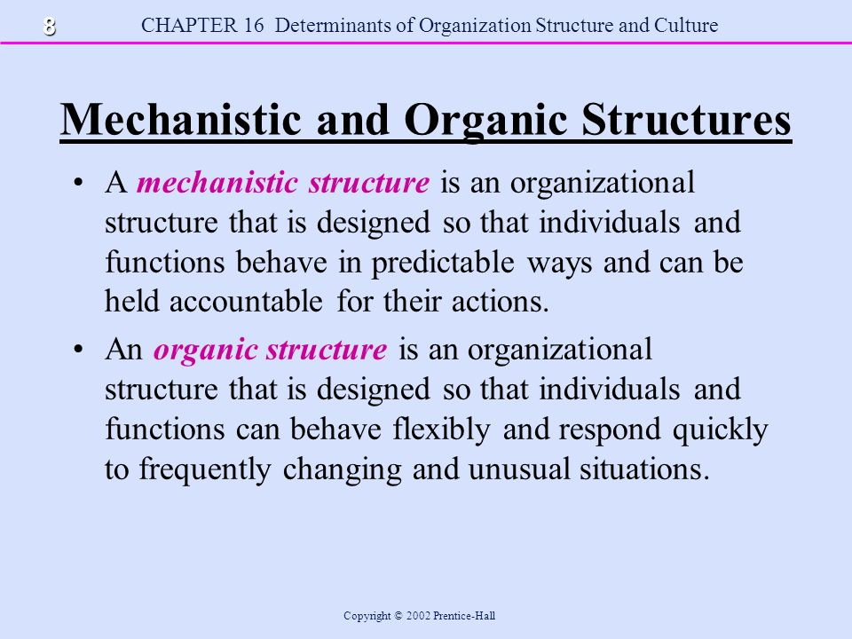 define mechanistic structure Management 9 chapter organizational structure & design 1 organizational structure & designwhat is an organization a social unit of people, systematically structured and managed to meet a need or to pursuecollective goals on a continuing basisorganizational structure:it is a framework within which an organization arranges it's lines of authorities andcommunications and allocates rights and.