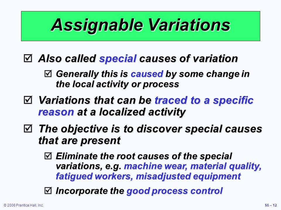 assignable variation Chance causes assignable distinction between chance and assignable causes of total amount of chance variation is substantial) any one assignable cause can.