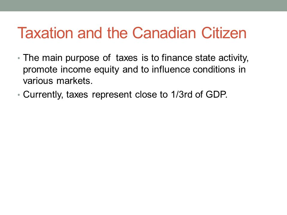 Taxation and the Canadian Citizen