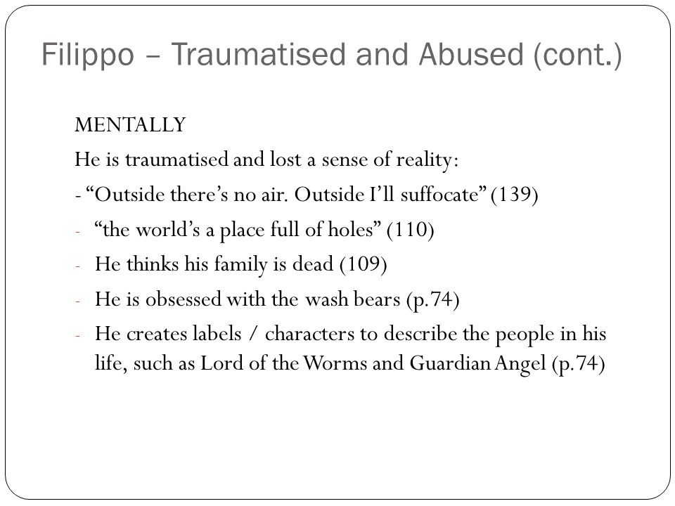 Filippo – Traumatised and Abused (cont.)