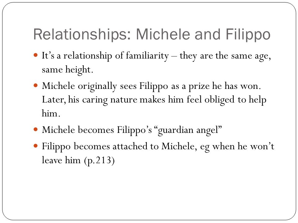 Relationships: Michele and Filippo