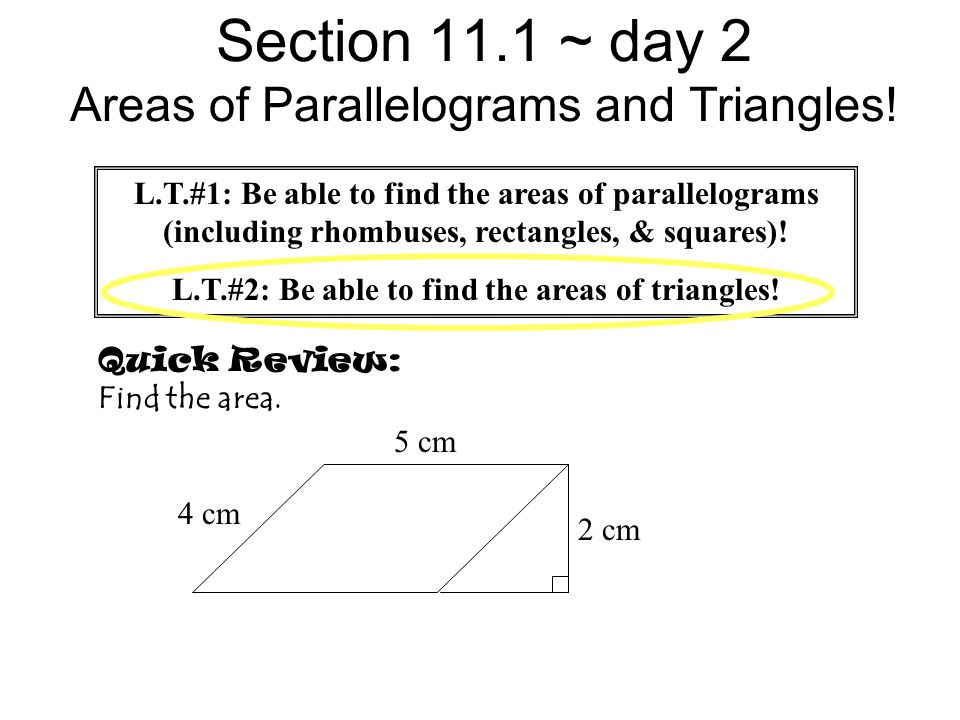 Area of a parallelogram worksheet pdf