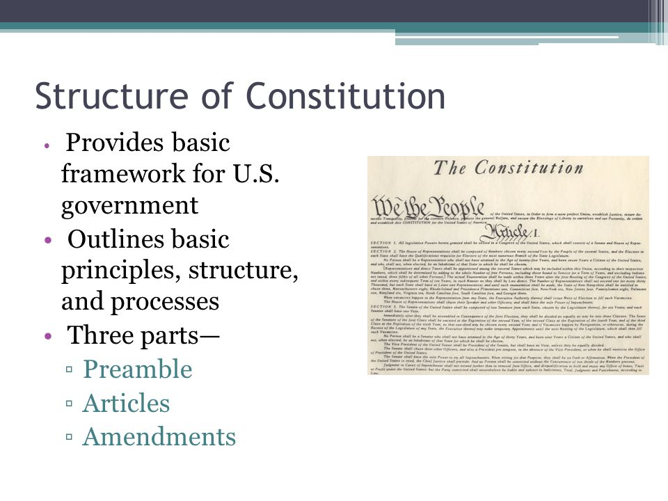the structure of the constitution The us constitution was written and signed by men who craved independence from britain but who were nonetheless steeped in its history and ideals the us constitution starts with some basic precepts of english governance, but then adds some uniquely american twists — three branches of .