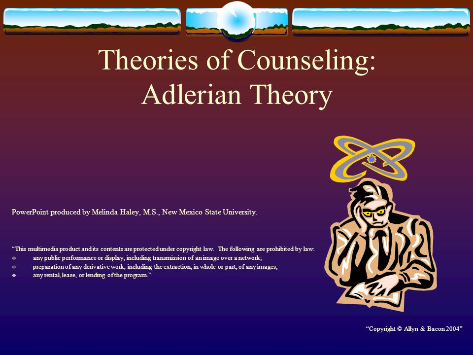 adlerian counseling Adlerian therapy: theory and practice washington, dc: american psychological association alfred adler: the forgotten prophet: a vision for the 21st century.