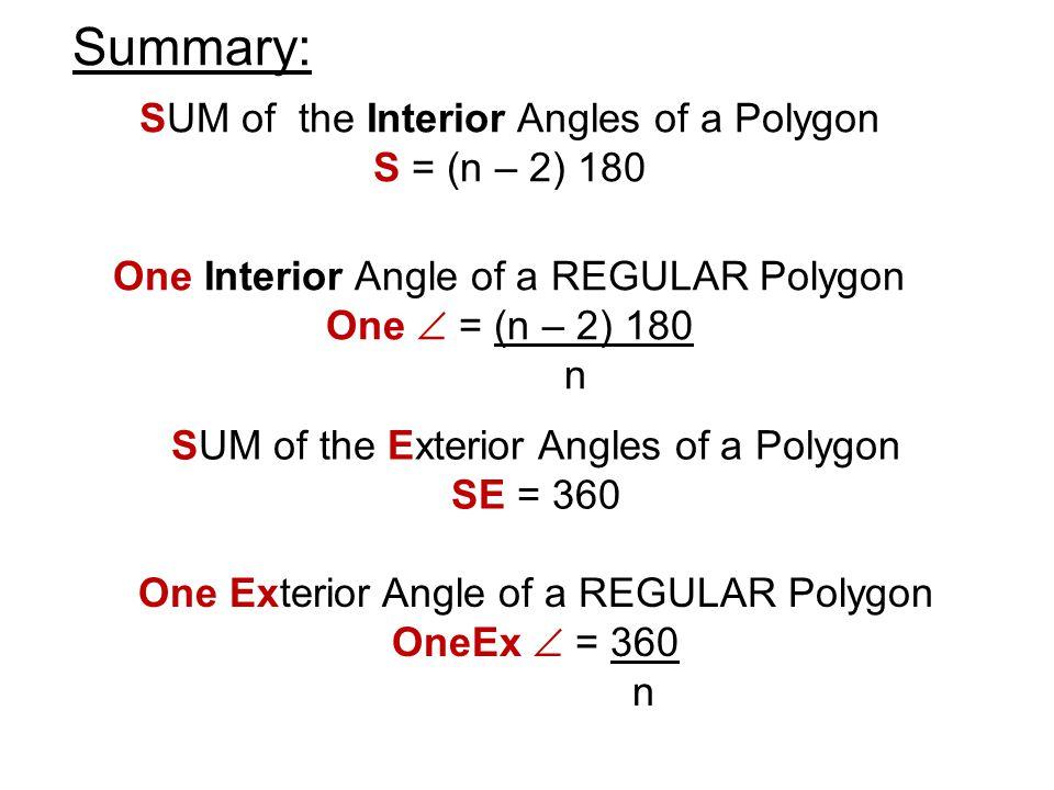 Interior angles of a polygon theorem