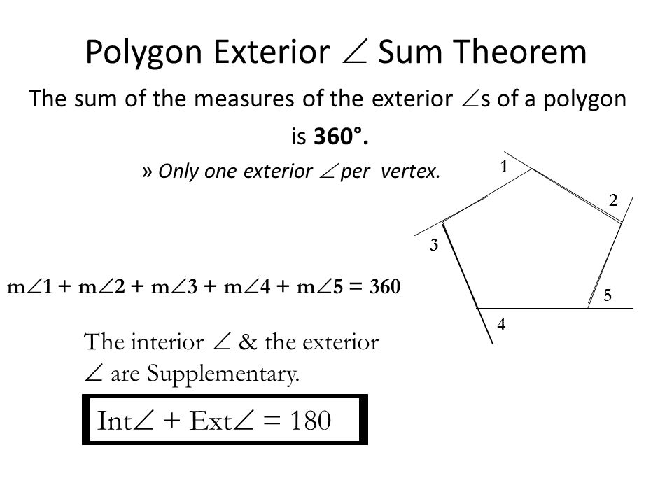 5 2 exterior angles of a polygon ppt video online download for Exterior angle theorem