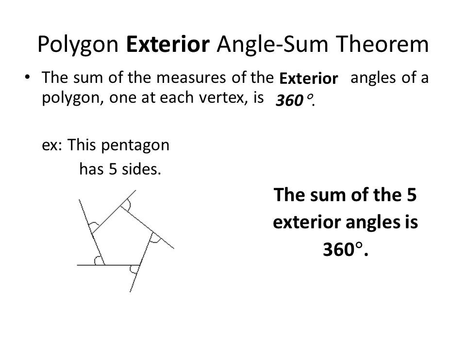 Formula finding sum interior angles polygon for Exterior angles of a polygon formula