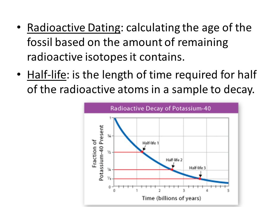 Radioactive Dating: calculating the age of the fossil based on the amount of remaining radioactive isotopes it contains.